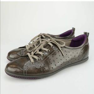 Shoes - ECCO Bronze Patent Leather Sneakers Oxfords Shoe
